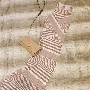 Beige and White Maxi Dress